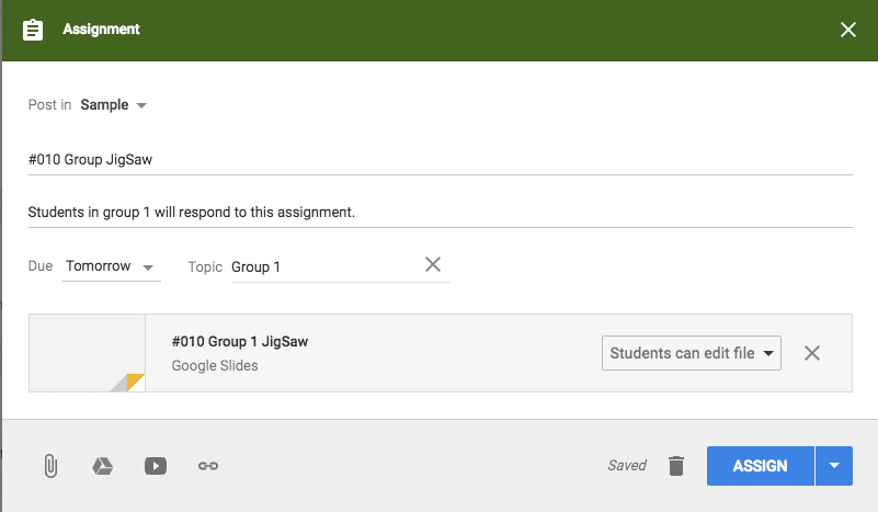 Group 1 topic in Google classroom