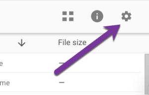 Settings cog in google drive