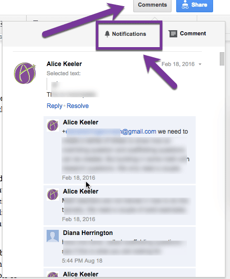 notifications in Google Docs