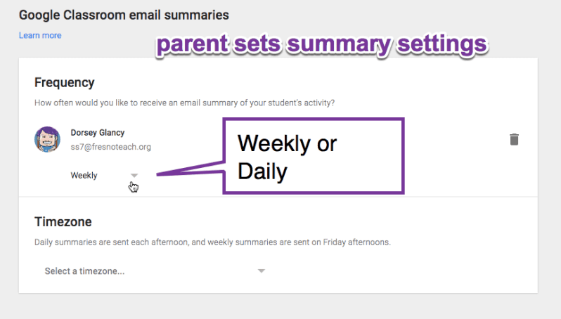 google classroom parent management screen