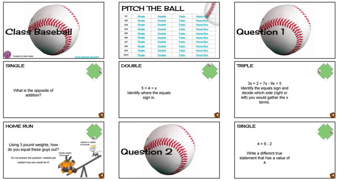 Math baseball functions