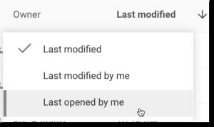 last modified in Google Drive