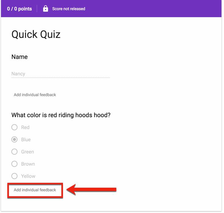 add individual feedback