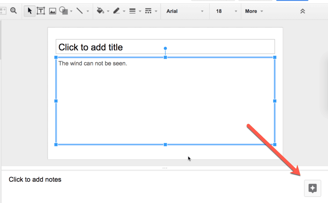 Explore tool in google slides