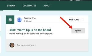 student clicks on open in google classroom