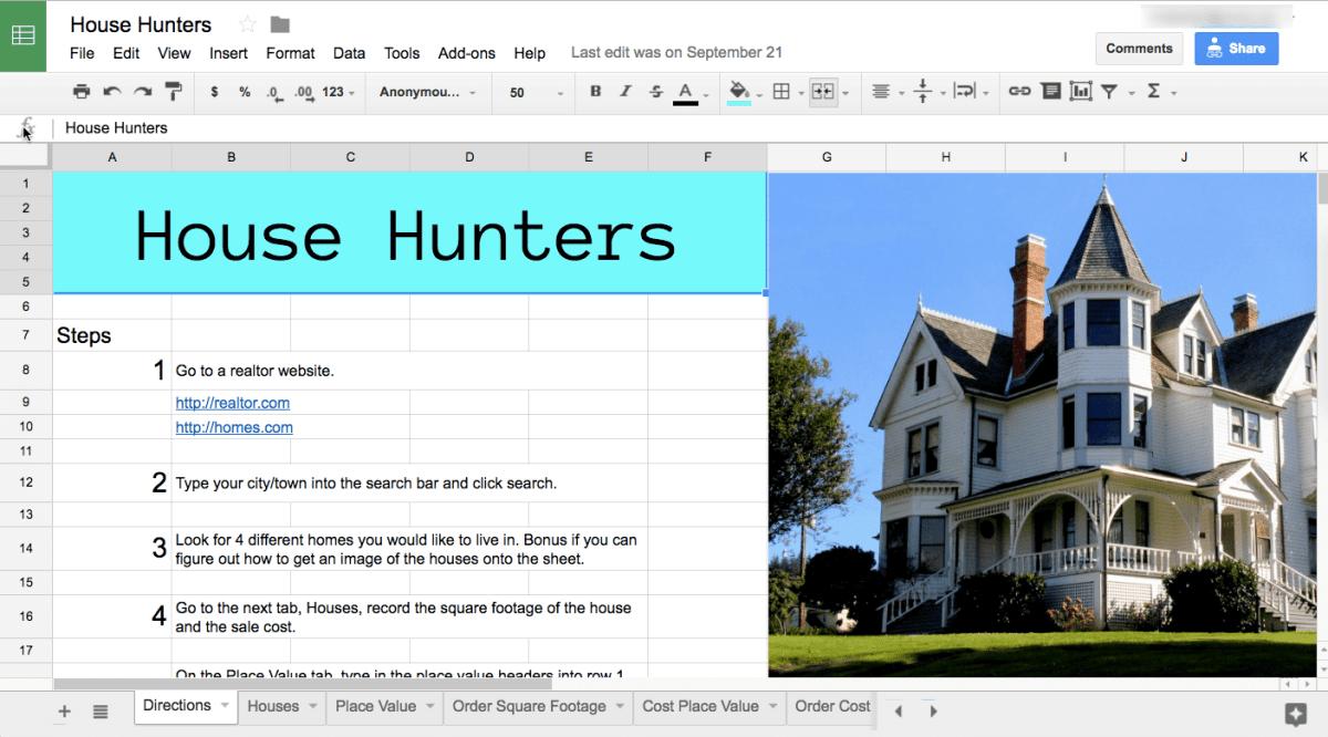 house hunters google sheets spreadsheet