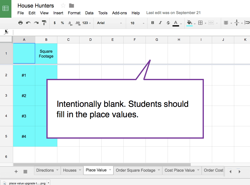 fill in place value