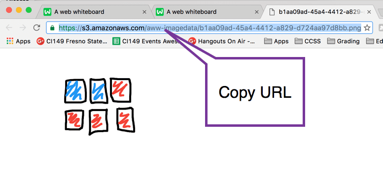 copy URL from the full screen on aww whiteboard