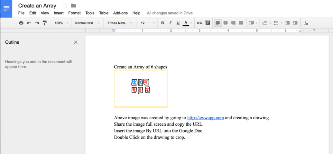 Insert drawing into a Google Doc