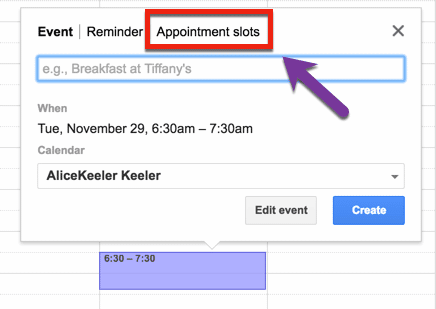 appointment slots in google calendar
