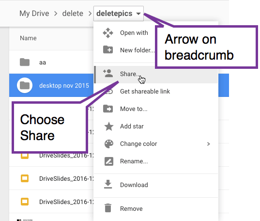 Arrow on breadcrumbs in Google Drive