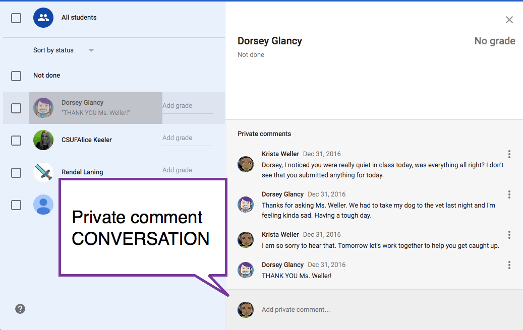 private comment conversation