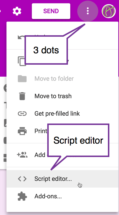 3 dots script editor