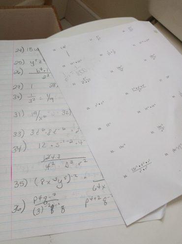 Math homework from 2017