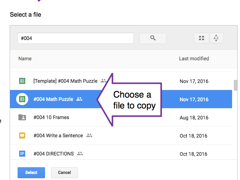 choose a file to copy