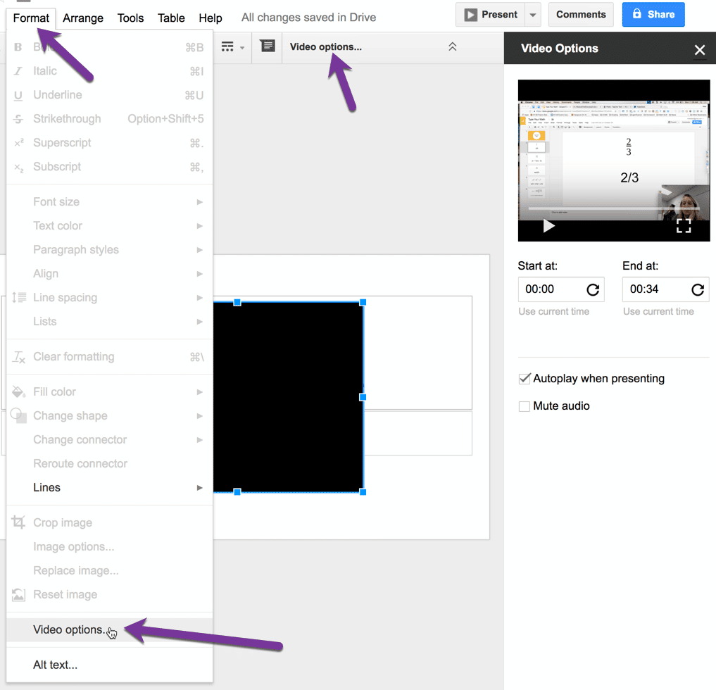 video options in Google Slides