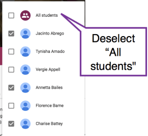 Deselect All Students