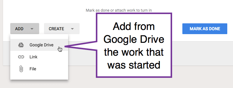 add from Google Drive the assignment work