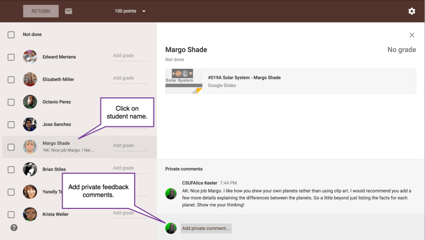 add private comments to an assignment