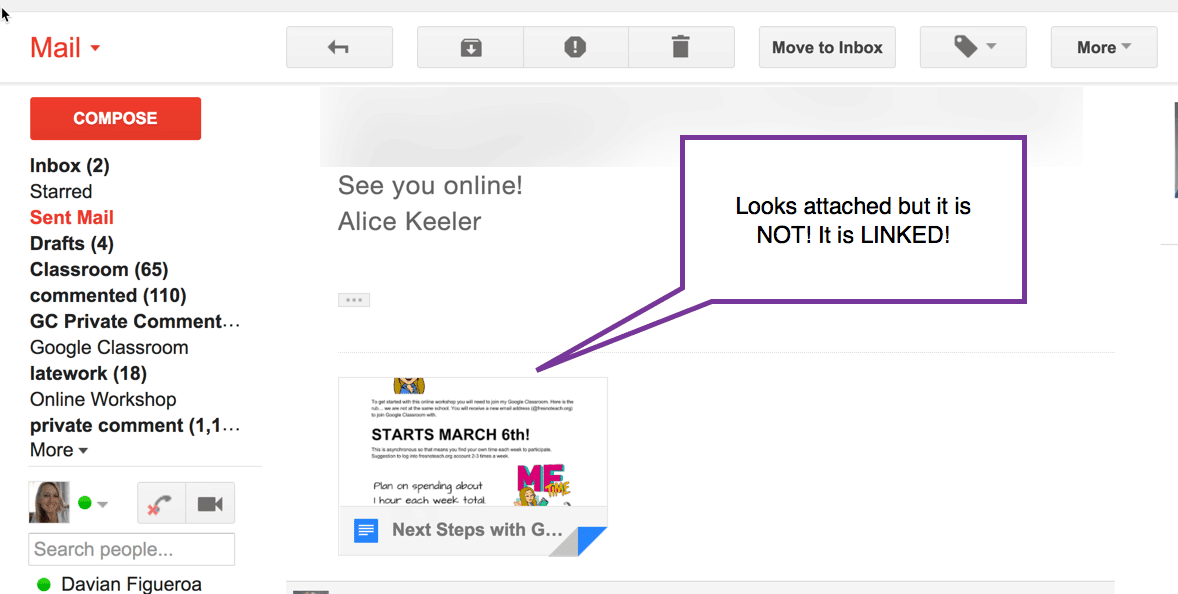 the file is LINKED to Google Drive not attached