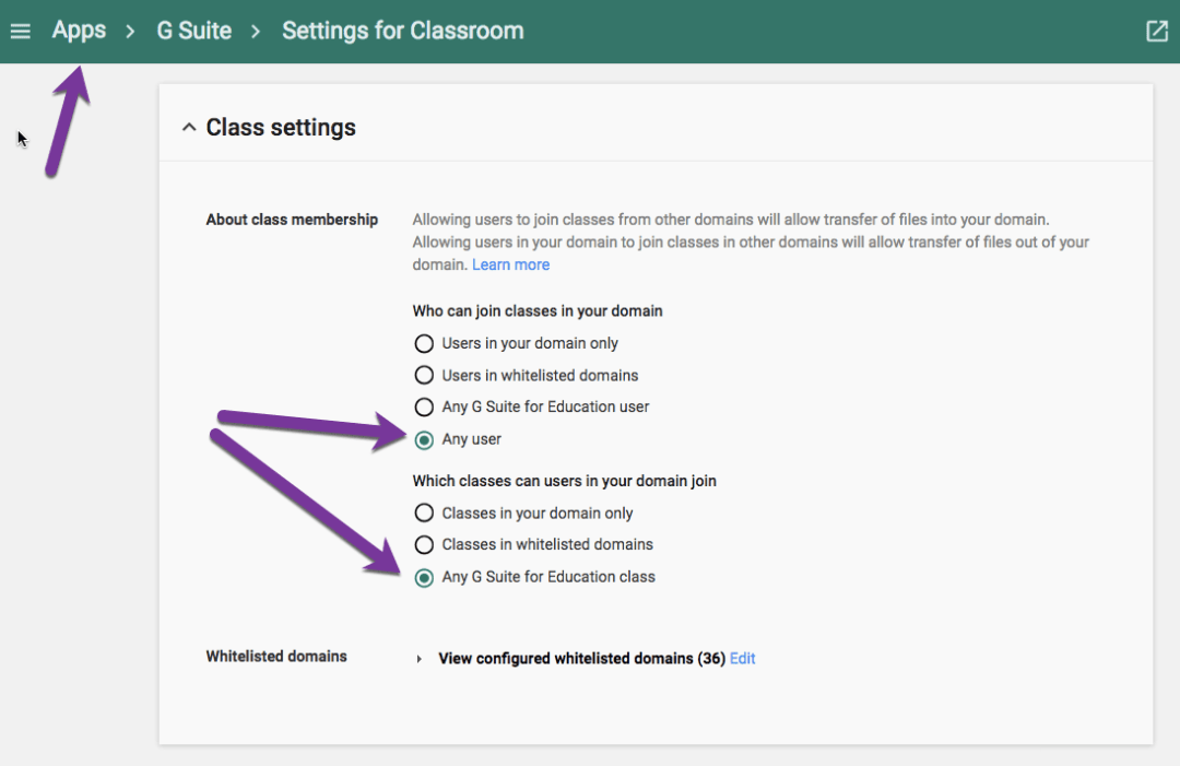 apps settings for Google Classroom