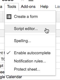 Tools menu script editor