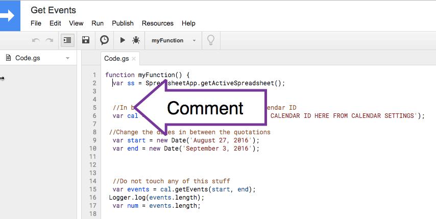 Insert Comment into Google Apps Script