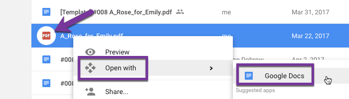 """right click on PDF and choose """"Open with"""" and choose """"Google Docs"""""""