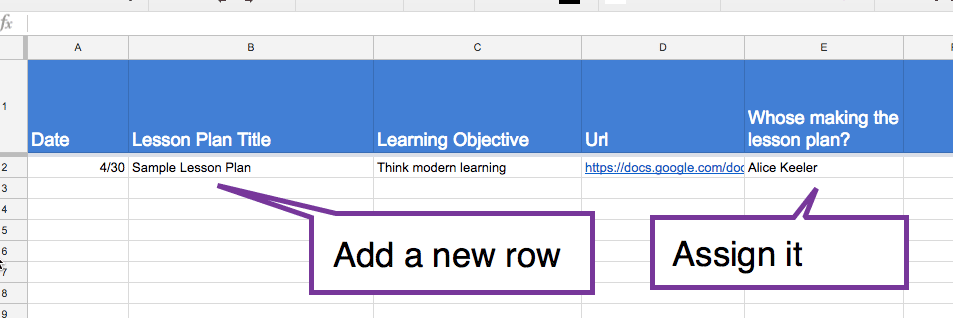 Assign a new row