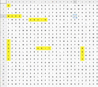 Spreadsheet Word Search