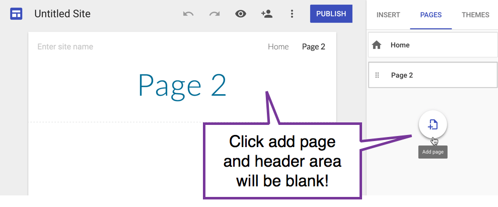 blank header area on a new page
