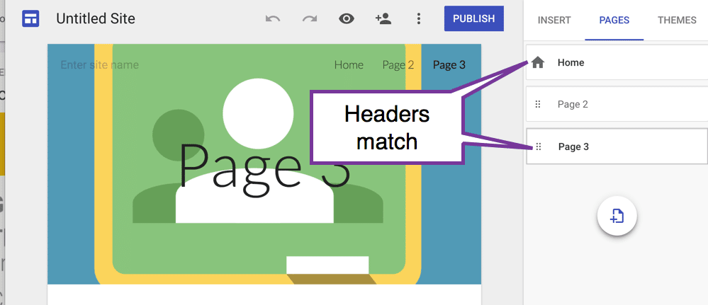 Headers match for the home and page 3