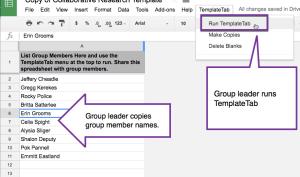 Group Leader runs templatetab