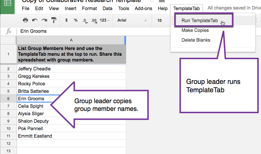 Group Leader runs templatetab
