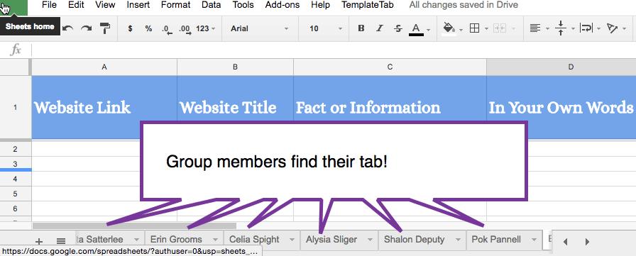 Group Members Find their tab