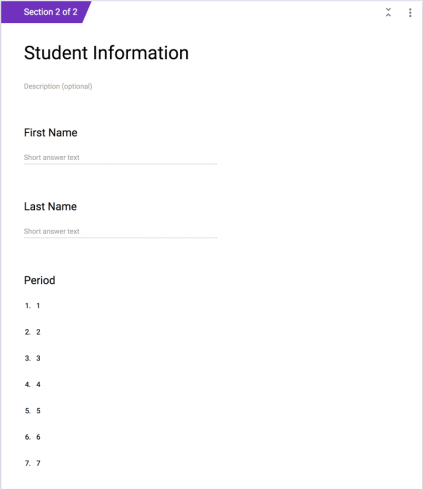 Dropdown period for student information