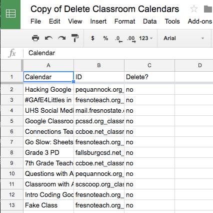 Make a list of Google Classroom calendars