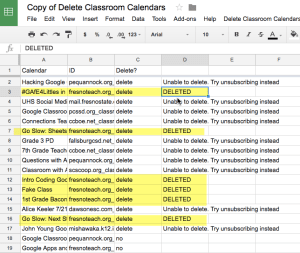 Deleted Calendars in Column D