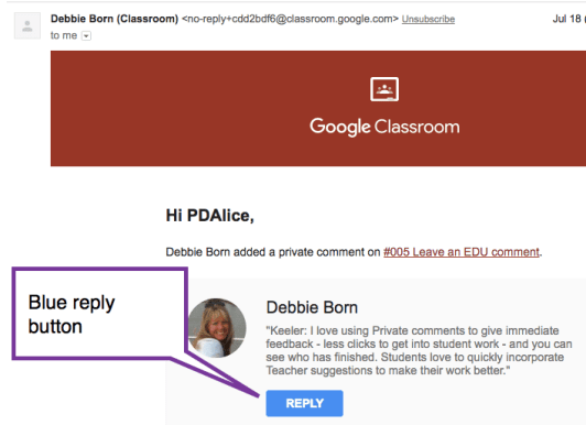 Google Classroom Reply button from Gmail