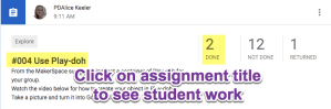 Click on assignment title to see student work