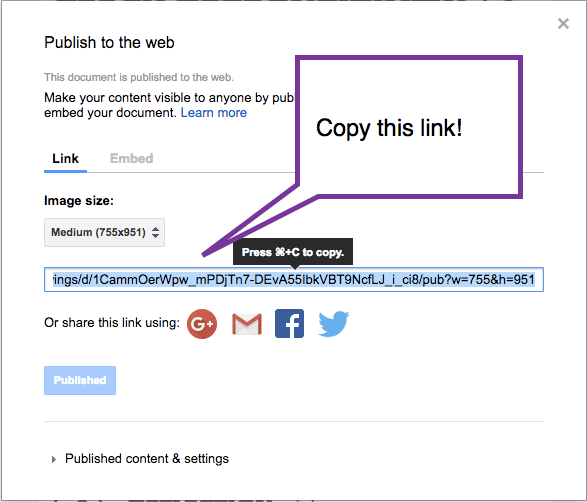 copy link to published google drawing