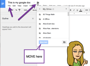 Move here the file in Google Drive folder icon