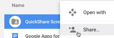Share the QuickShare Screenshot folder