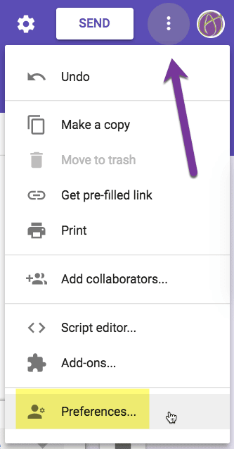 Preferences in Google Forms
