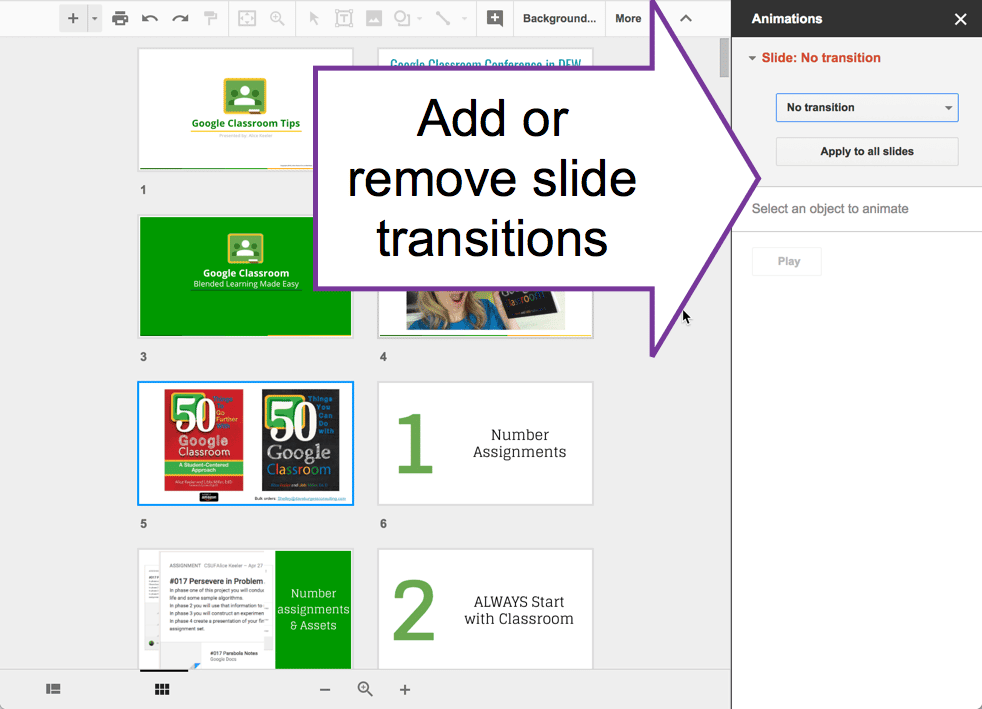 Add or remove transitions in the side panel