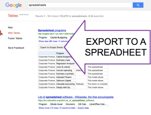 Export to a spreadsheet