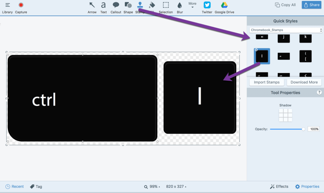 Create key images in Snagit