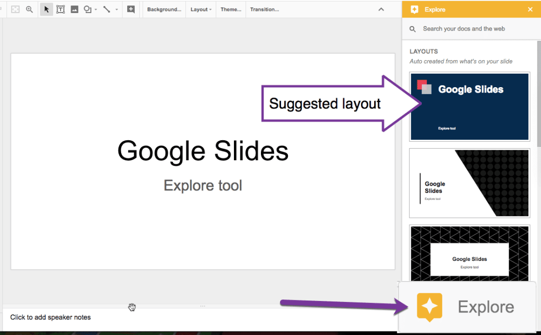 Suggested layouts in Google Slides