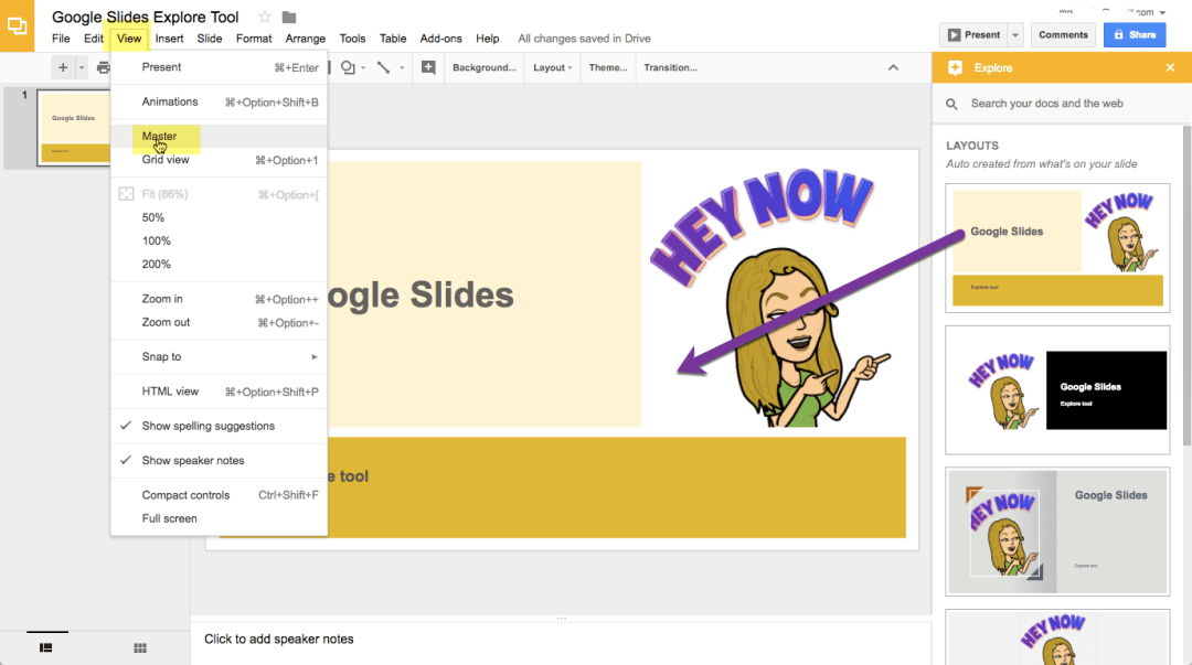 View master in Google Slides