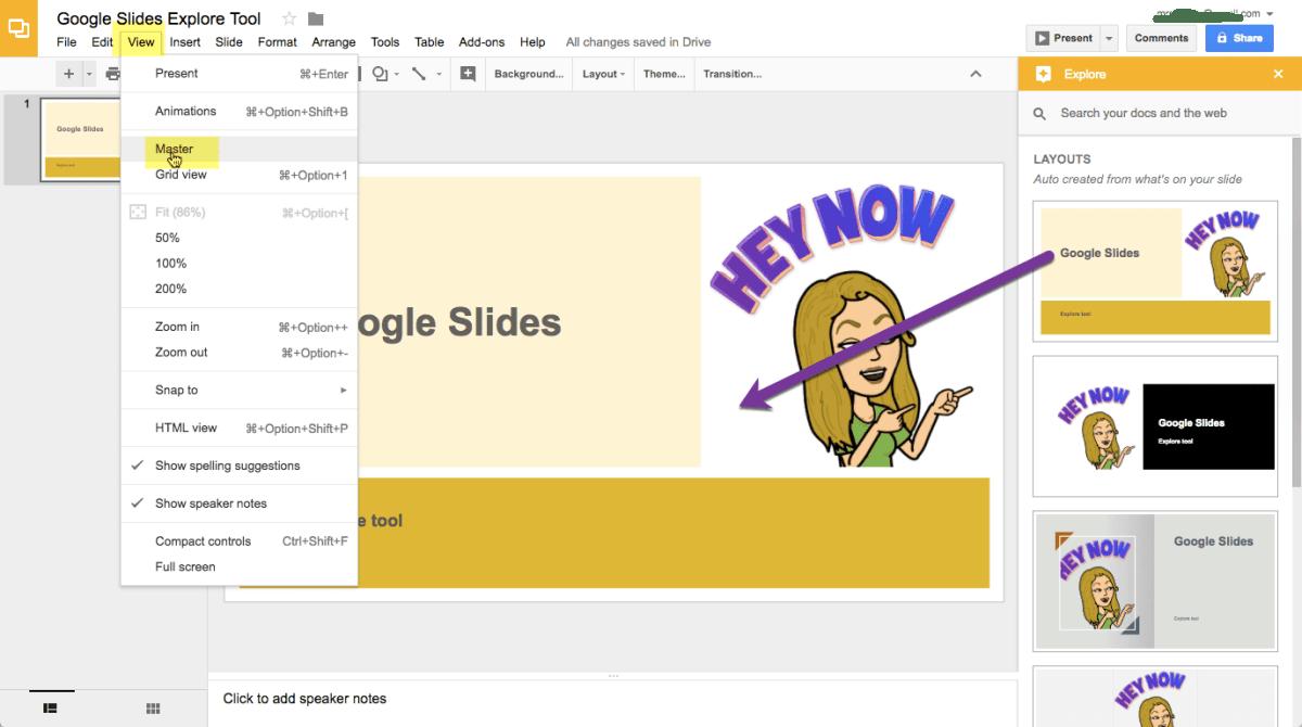 View master in Google Slides